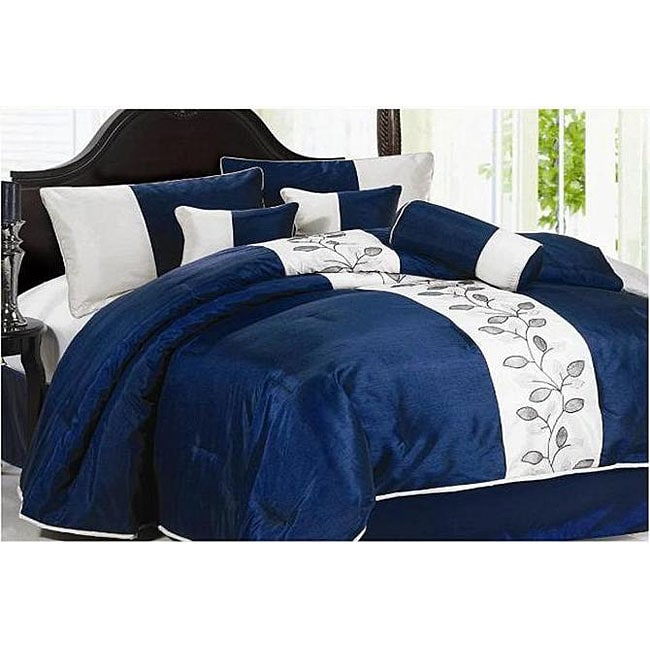 Coolblue Embroidery 7-piece Comforter Set