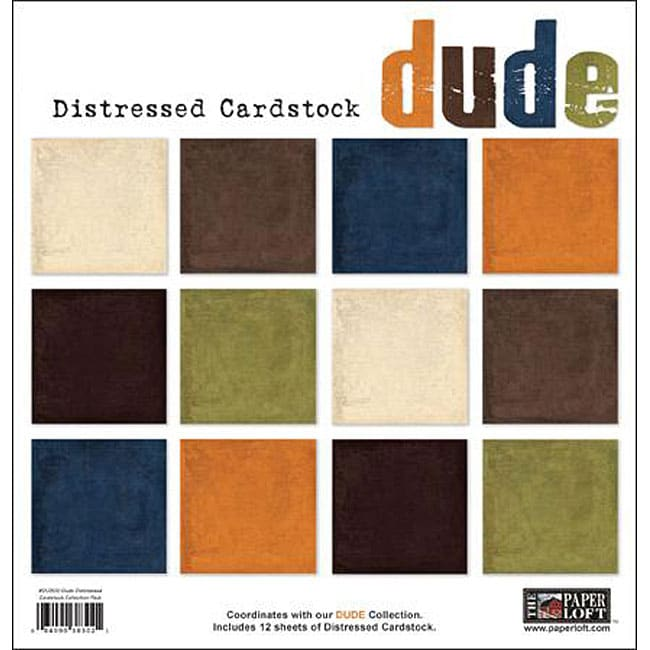 Dude Double-sided Distressed Cardstock Sheets (Pack of 12)