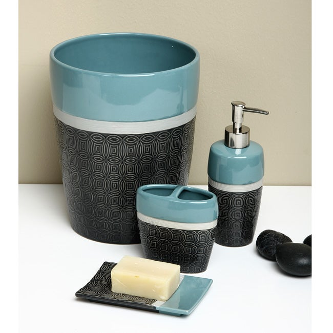 Saville row charcoal bath accessory 4 piece set free for Charcoal bathroom accessories