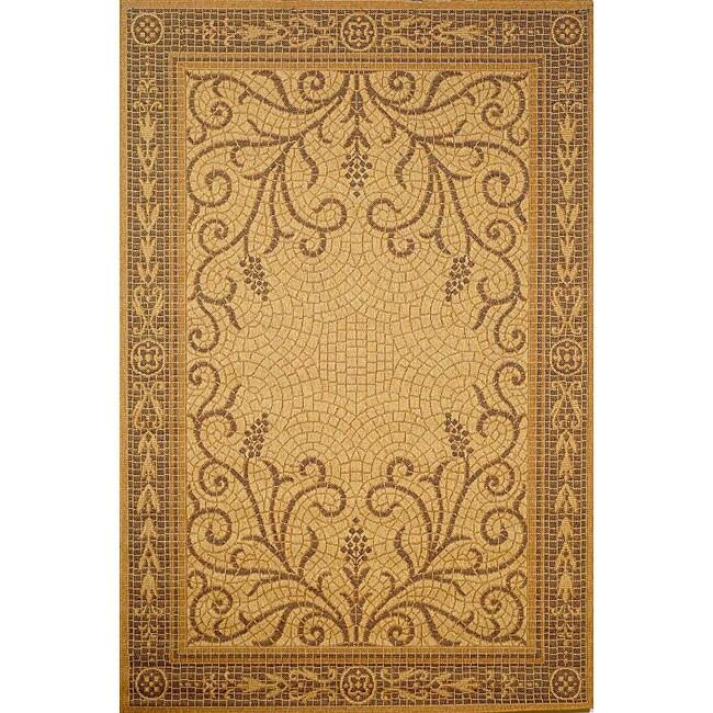 Mosaic Wheat Border Rug (4'11 x 7'6)