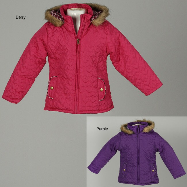 e084e42684da Shop Pink Platinum Toddler Girl s Quilted Heart Puffy Coat - Free ...