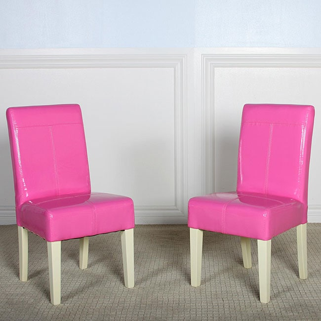 Isabella Pink Patent Leather Dining Chair Set Of 2