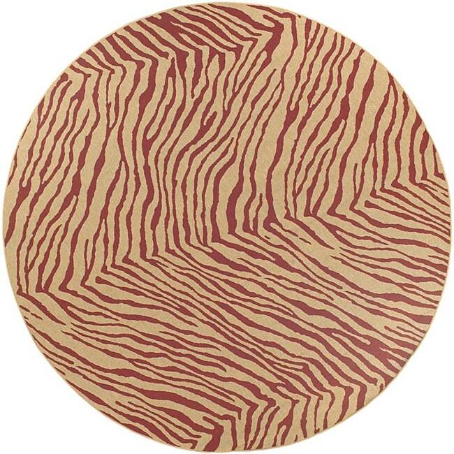 "Shop Cafe Tan/Red Zebra Print Rug (7'3"" Round)"