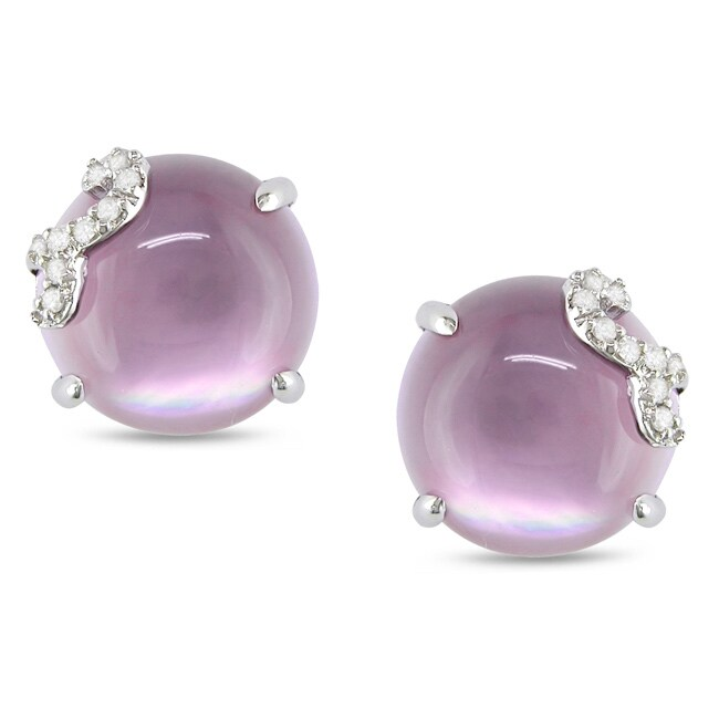 Miadora 10K White Gold 8 ct TGW Amethyst and Diamond Accent Earrings (H-I, I2-I3)