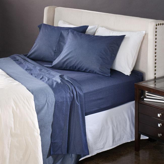 Dark Heathered Blue Cotton Full/ Queen-size Sheet Set