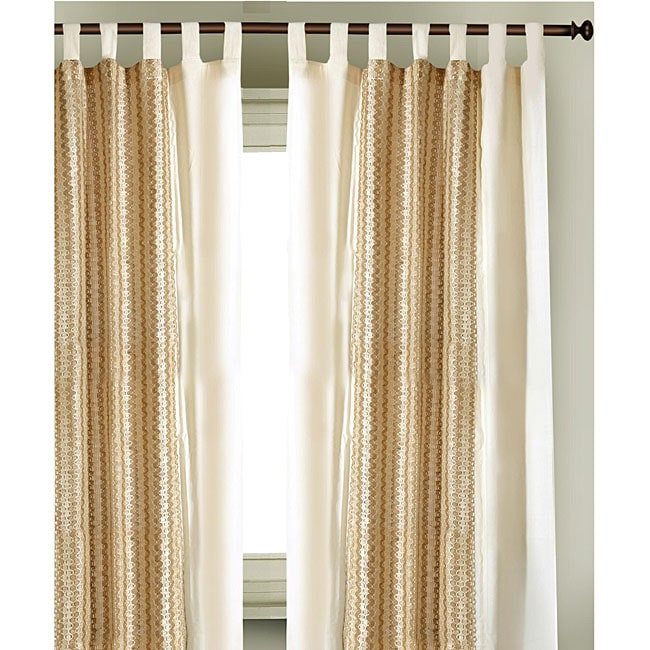 Cotton Jute Tab Top  84 in. Curtain Panel Pair