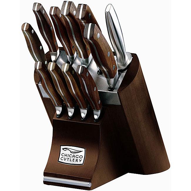 Chicago Cutlery Walnut 12 Piece Knife Block Set Free