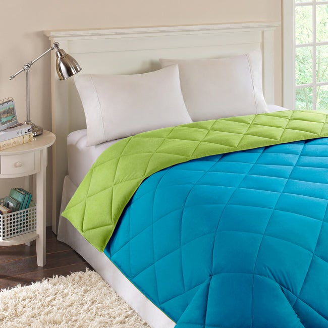 Reversible Turquoise Lime Quilted Microfiber Down