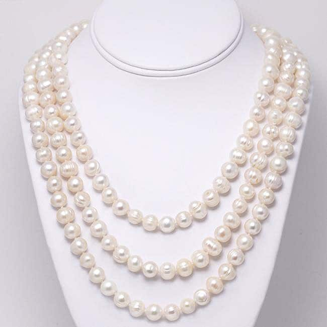 White Cultured Freshwater Pearl 80-inch Strand (9-10 mm)