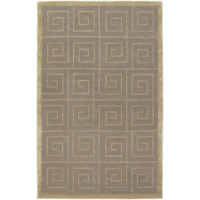 Contemporary Hand-Tufted Mandara Beige Wool Blend Rug (5' x 7'6)