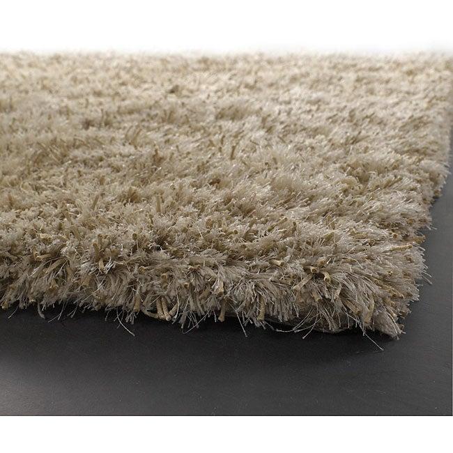 Hand-woven Mandara White Wool Rug (5'3 x 7'9)