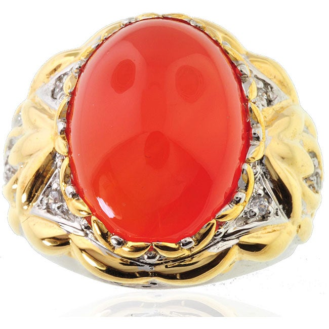 Michael Valitutti Two-tone Mandarin Chalcedony and White Sapphire Ring