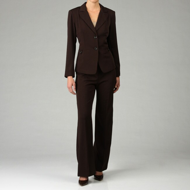 First Lady Women's Brown 2-piece Pant Suit
