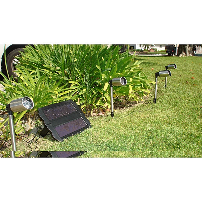 LED Wired Stainless Steel Solar Spotlights (Set of 4)
