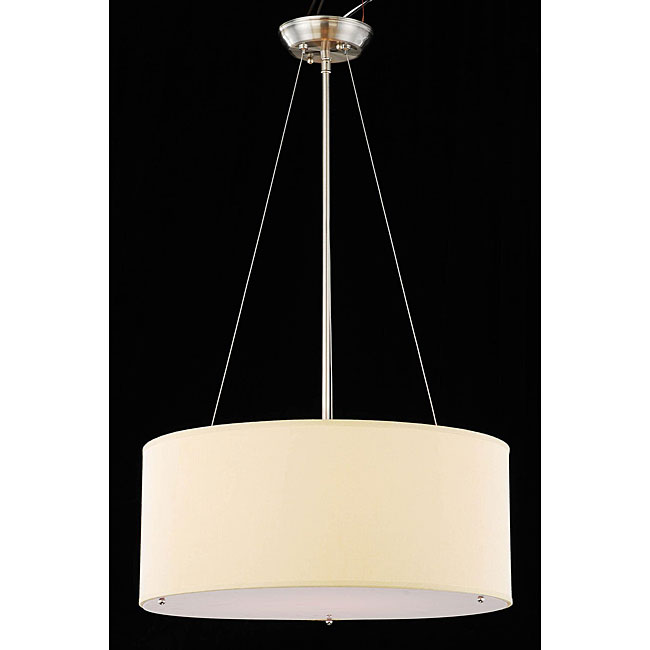 Chrome and Beige 3 Light Crystal Chandelier - Thumbnail 0