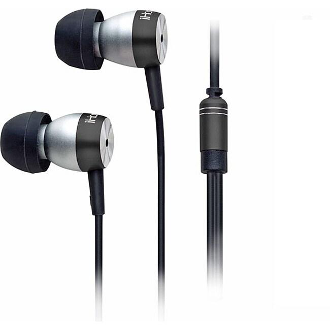iHome Black Noise-Isolating Metal Earphones With iPod Control and Mic