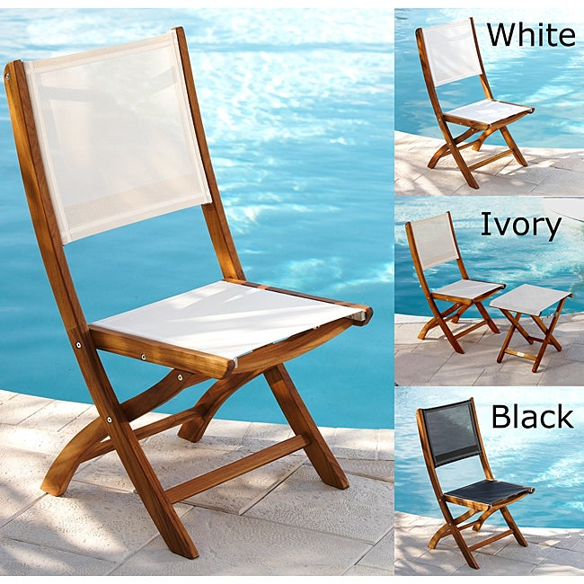 Teak Folding Chair With Sling Fabric
