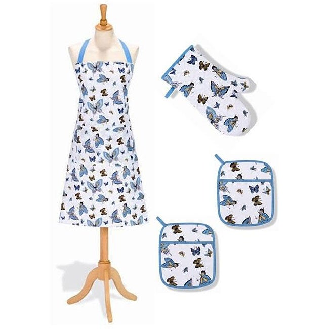 Danya B Butterflies 4-piece Kitchen Linen Set - Thumbnail 0