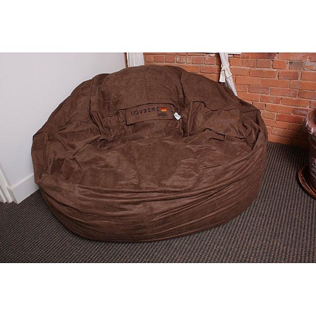 Lovesac Sofa For Sale: LoveSac SuperSac 6' Earth Brown Microfiber Foam Lounge Bag