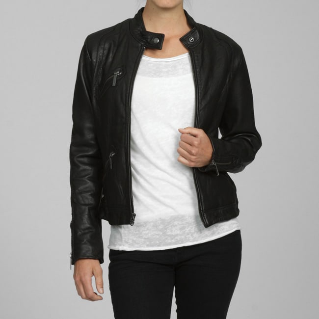 d4e4d11c39dc Shop MICHAEL Michael Kors Women s Leather Motorcross Jacket - Free Shipping  Today - Overstock.com - 5040923