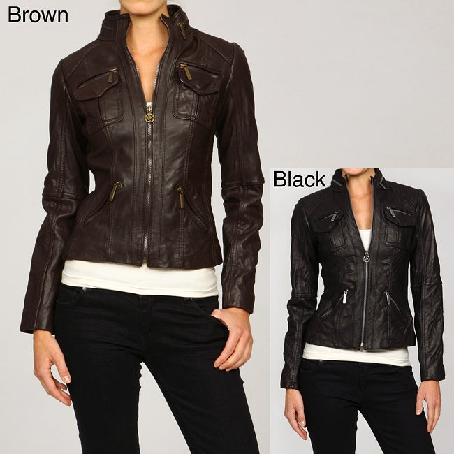 b64379bc8108 Shop MICHAEL Michael Kors Women s Leather Motorcycle Jacket - Free Shipping  Today - Overstock - 5040934