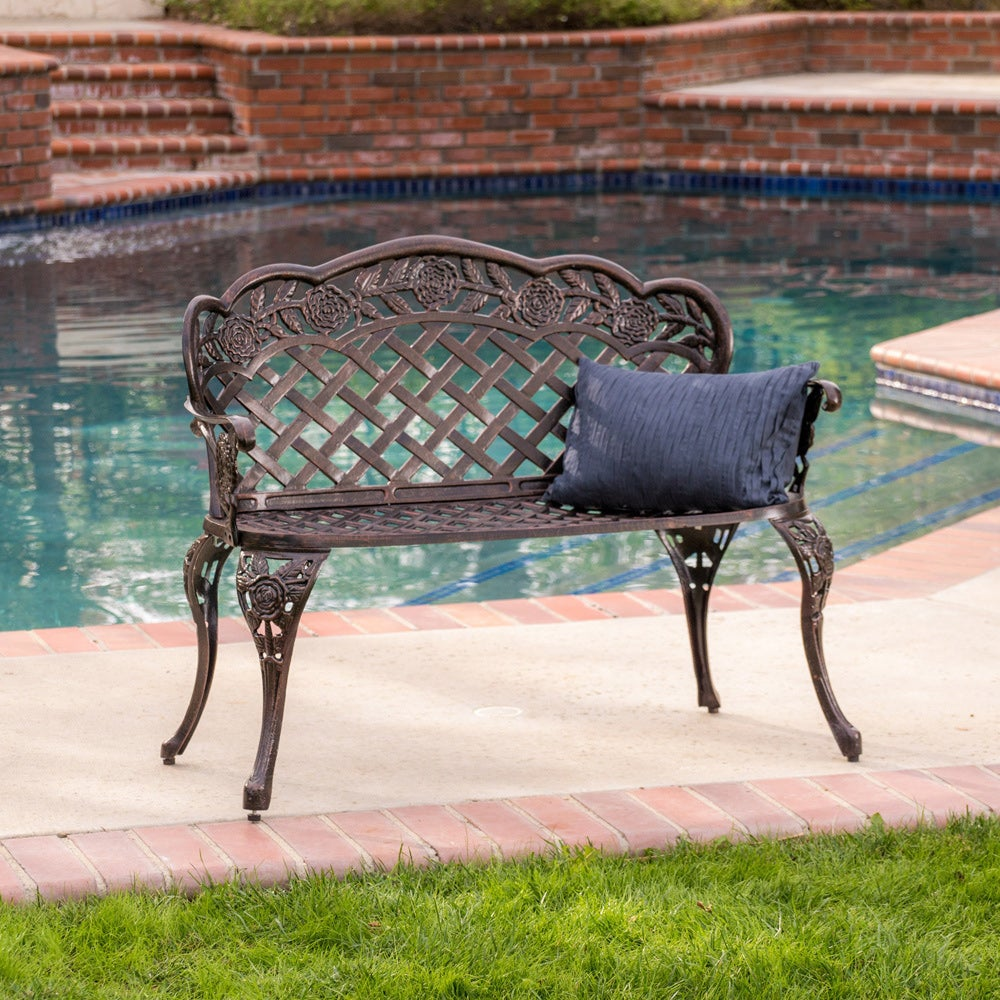 Lucia Outdoor Garden Bench by Christopher Knight Home (Lu...