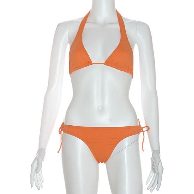 6c6566a718a Shop Cot'n by Lucenti Swimwear Women's Orange Halter Bikini - Free Shipping  On Orders Over $45 - Overstock - 5041235