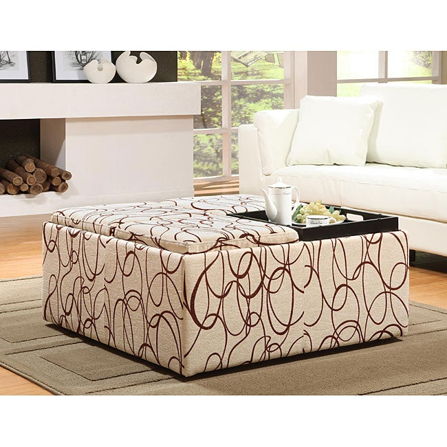 Decor Swirl Print Cocktail Storage Ottoman With Trays