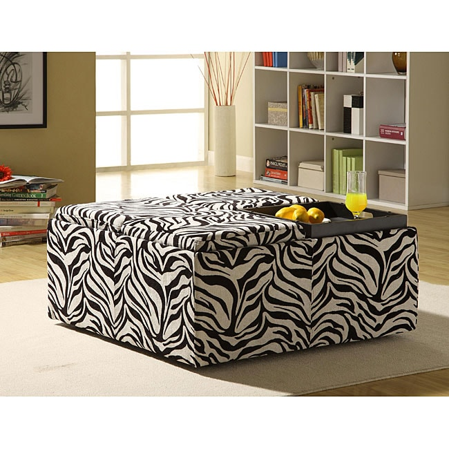 Decor Zebra Print Cocktail Storage Ottoman with Trays - Decor Zebra Print Cocktail Storage Ottoman With Trays - Free