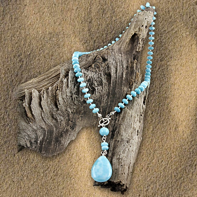 Liquid Sterling Silver and Larimar Toggle Necklace