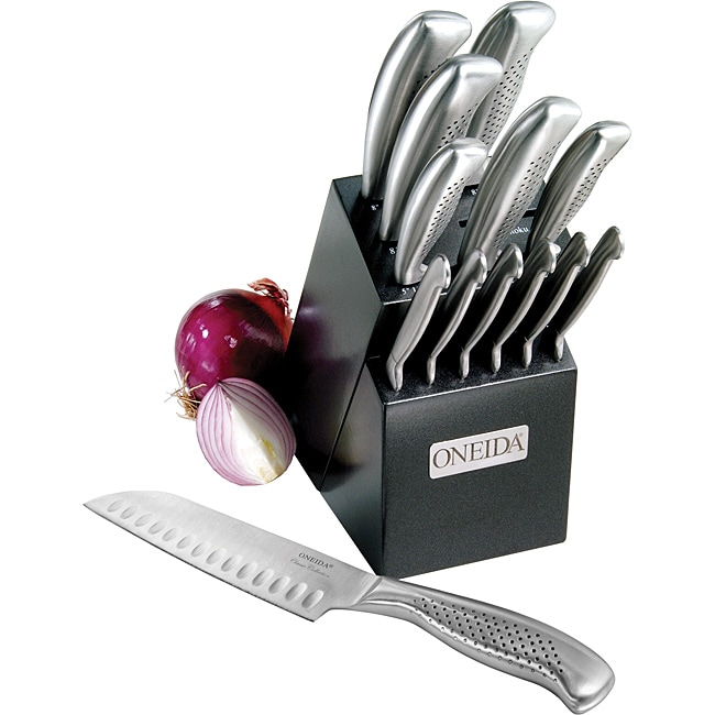 Oneida 14-piece Stainless Steel Knife Block Set - Thumbnail 0