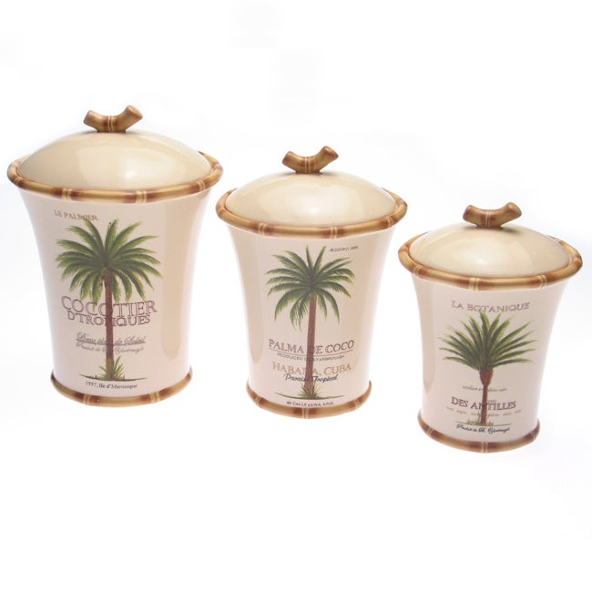 Certified international 39 palm island 39 3 piece canister set free shipping today Home goods palm beach gardens