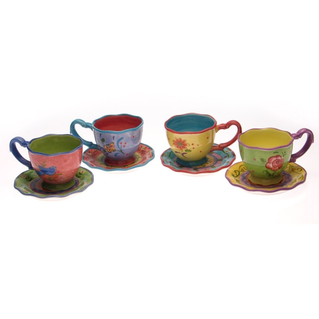 Tea Garden Cup And Saucer Set Of 4 Free Shipping