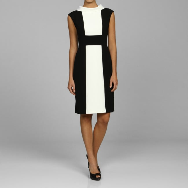 London Times Women's Black And White Banded-waist Dress