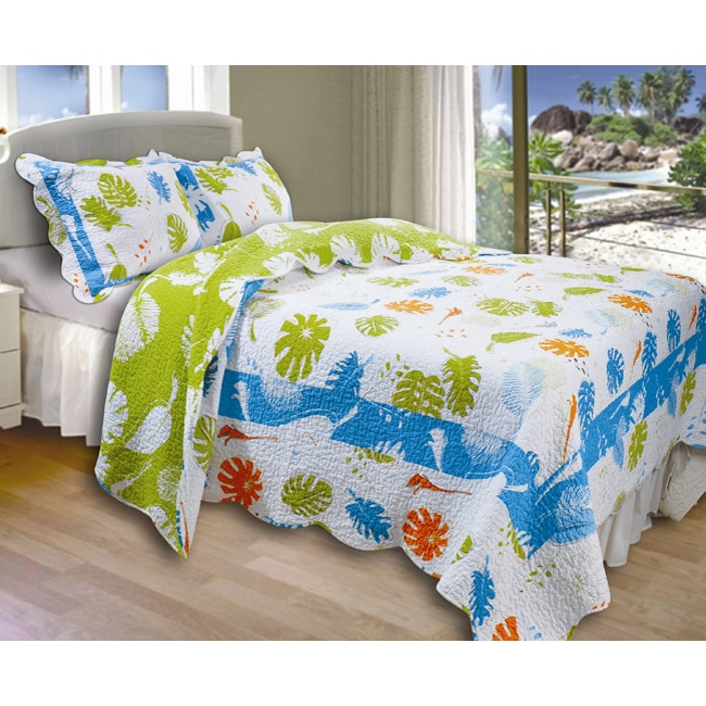 Greenland Home Fashions Coastal Breeze King-size Quilt Set - White