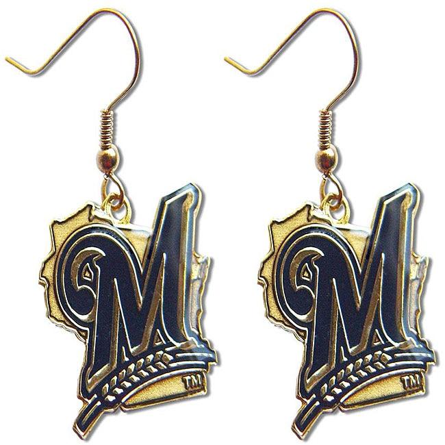 Milwaukee Brewers Dangle Logo Earrings