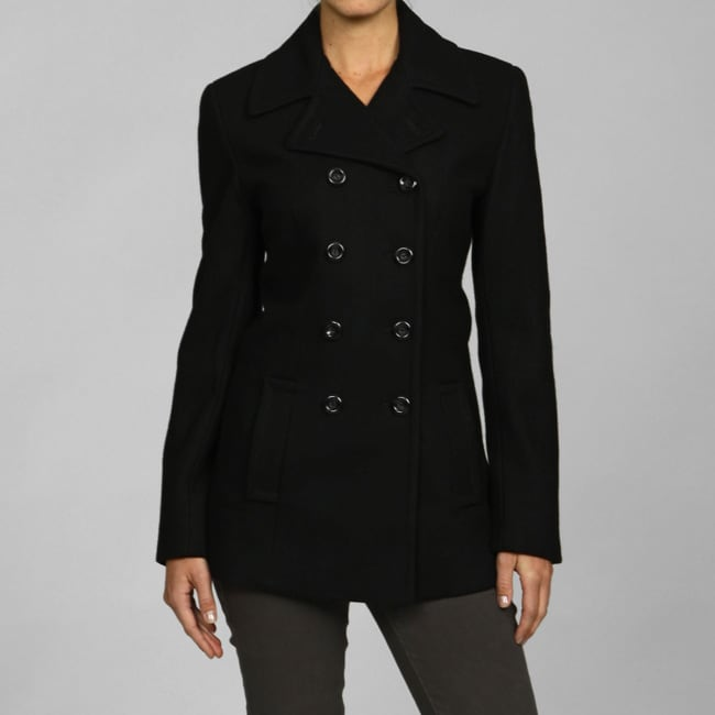 Jones New York Women's Black Wool Blend Peacoat - Free Shipping