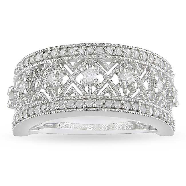 10k White Gold 1/2ct TDW Diamond Openwork Ring