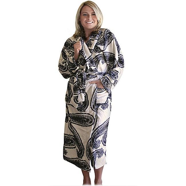 Women's Microluxe Paisley Long Robe