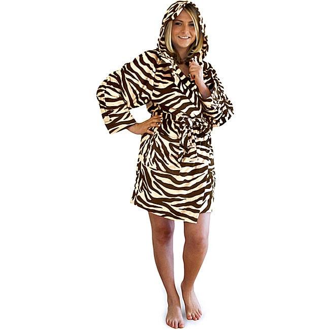 Women's Zebra Print Hooded Short Robe