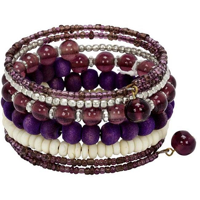 Metal/ Glass/ Bone Lavender Spiral Bracelet (India)