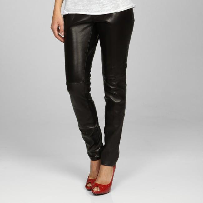 Miss Sixty Women's Black Leather Pants