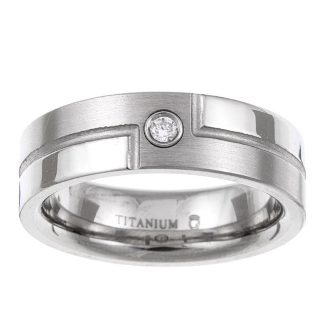 Titanium Men's Diamond Accent Bypass Design Band