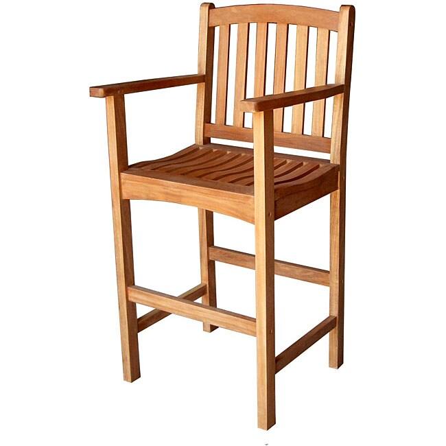 Counter Height Arm Chairs : Royal Tahiti Yellow Balau Outdoor Hardwood Bar-height Arm Chair - Free ...