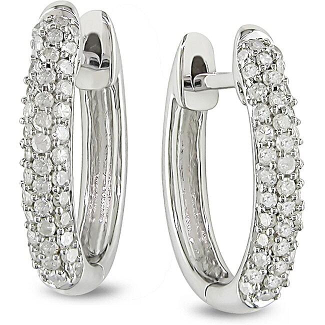 10k White Gold 1/3ct TDW Diamond Hoop Earrings (H-I, I2-I3)