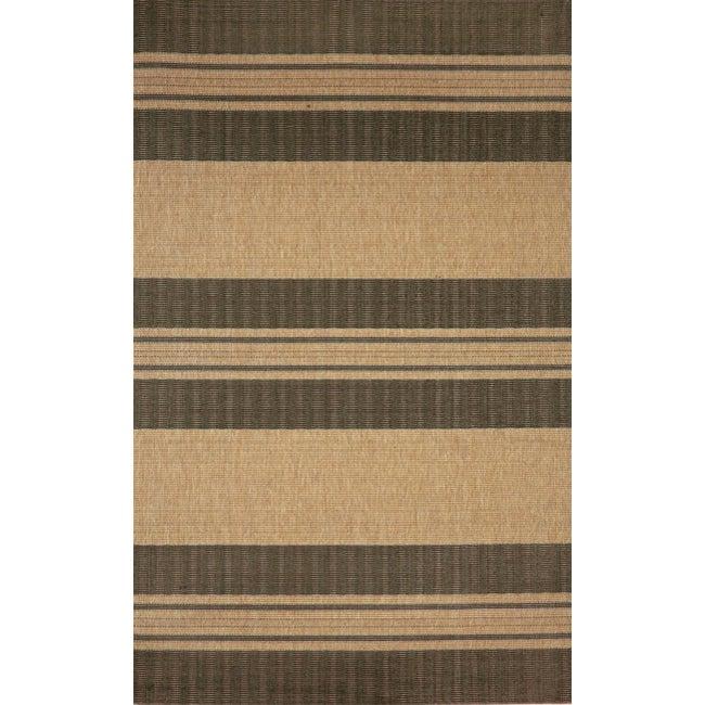 Spinnaker Stripe Beige Rug (4'11 x 7'6)