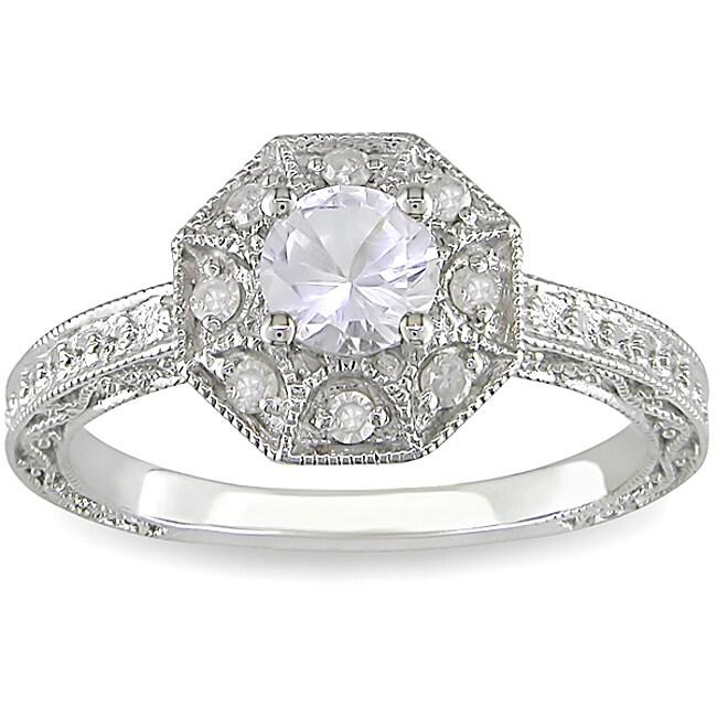 Miadora Silver Created Sapphire and 1/8ct TDW Diamond Ring (H-I, I3)
