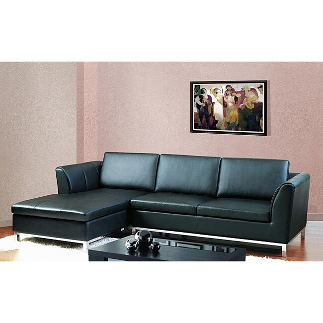 Shop Monaco Modern Black Bonded Leather Sectional Sofa Free