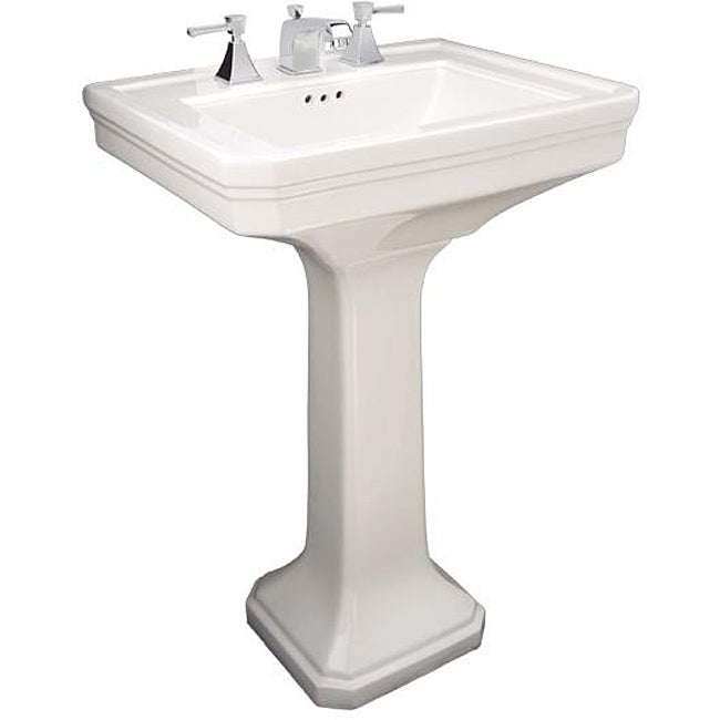Fontaine Porcelain Square Pedestal Sink With Faucet Combo
