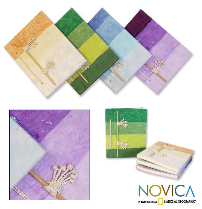 Set of 4 Natural Fiber 'Vibrant Notes' Notebooks (Thailand)